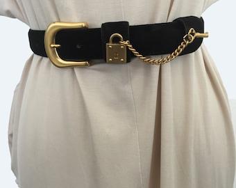 Hip Velvet Leather Black Belt