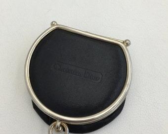 Vintage Christian Dior black leather coin purse
