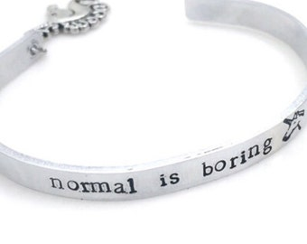 Normal Is Boring Charming Cuff Bracelet |  hand stamped | mythical creature | unicorn | handmade | nerd | geek | hipster