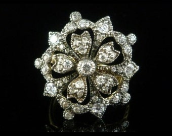 Georgian Paste Large Ornate Gold Silver Cluster Ring