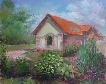 "Original, Modern Oil Painting ""Romantic hause"", 50 x 60 cm (19,68 x 23,62 inch), 2015."