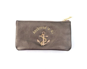 Faux Leather New Jersey Anchored in New Jersey Wallet Purse Wristlet