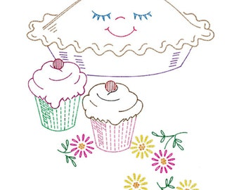IVAB7478 6 Happy Helper Designs for Towels and Cloths Vintage Embroidery Transfer PDF Instant Download!