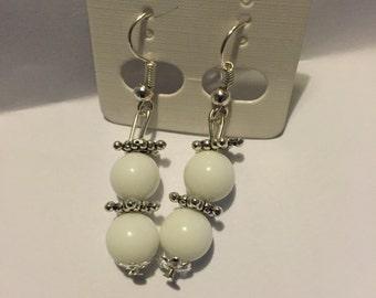 Natrual white jade dangle earrings