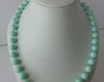 Pastel light green vintage necklace and button earring set