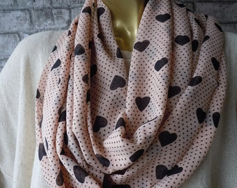 Valentine's Day Gift/ Infinity Circle Scarf, Women heart  scarf, infinity cowl scarf, infinity pink heart scarf, women fashion, gift