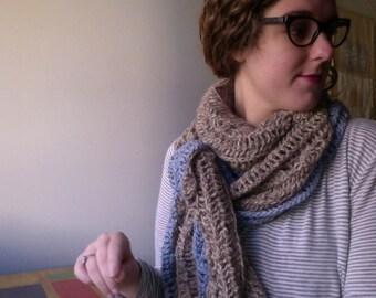 Knit Alpaca Cream & Blue Blanket Wrap. Hand Knit Shawl, Wrap, Neck Warmer