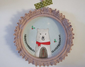 Christmas bear picture frame hook