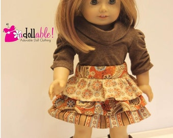American made Girl Doll Clothes, 18 inch Girl Doll Clothing, Autumn Colored Skirt, Muse Shirt made to fit like American girl doll clothes