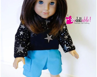 American made Girl Doll Clothes, 18 inch Doll Clothing, Twinkle Starlight Hiking Outfit handmade to fit like American girl doll clothes