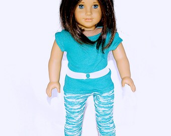 American made Girl Doll Clothes, 18 inch Girl Doll Clothing, Teal Top, Wave Patterned Capris made to fit like American girl doll clothes
