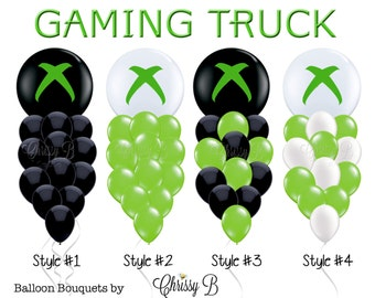 "XBox Inspired Balloons - Custom Imprinted Giant Balloon Bouquet - Lime Green and Black - Custom Imprinted Giant 36 In Balloon w/ 11"" balloon"