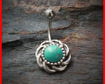 Turquoise Belly Button Ring 316L Surgical Steel Antique Turquoise Burst Navel Ring Belly Piercing Navel Piercing Belly Jewelry Navel Jewel
