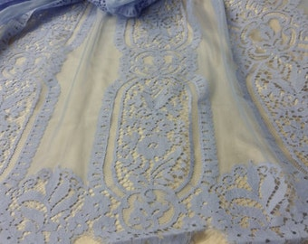 Blue lace fabric by the yard, French Lace, Chantilly Lace, Bridal Gown lace, Wedding Lace, White Lace Veil lace Scalloped lace Lingerie Lace
