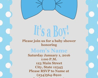 Its a Boy - Blue Bow Tie Baby Shower Invitation