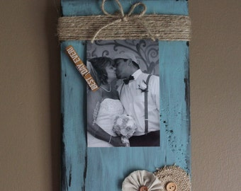 Wedding Picture Frame, Turquoise Wood Frame, Rustic Picture Frame, Rustic Home Decor