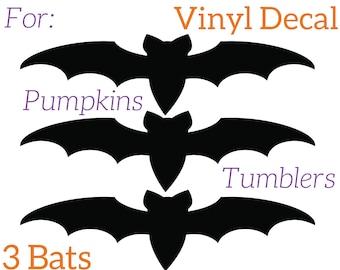 Halloween Bat Decal -Halloween Window Decal - Halloween Decal - Halloween Wall Decal (Set of 3 Bats- Different Sizes)