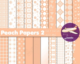 Peach Digital Papers 2 for Scrapbooking, Card Making, Paper Crafts and Invitations
