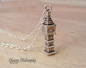 Big Ben Necklace - London Monument Jewelry - Clock Tower Charm - Antique Silver Toned Jewelry