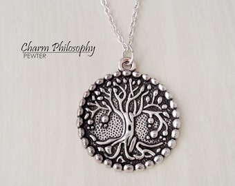 Tree of Life Necklace - Tree Pendant - Antique Silver Jewelry