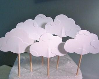 Elegant Embossed Cloud Cupcake Toppers - Wedding - Bridal Gifts - Party Favor - Baby Shower - Cupcake Topper - Food Picks - Appetizer Picks