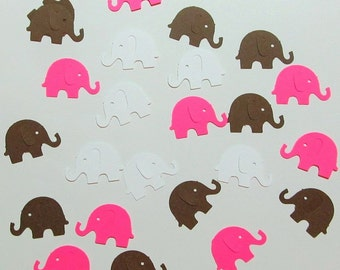 50 Elephant Die Cuts - Hot Pink - White - Brown - Weddings - Showers - Cardmaking - Scrapbooking - Confetti - Birthdays - Gift Tags