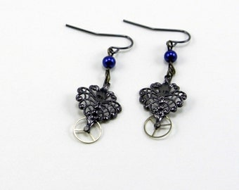 Steampunk Earrings Silver Filigree with Watch Gears and Blue Beads