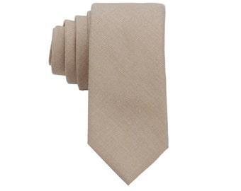 Khaki Wool Ties.Khaki Ties for Men.Skinny Wool Neckties