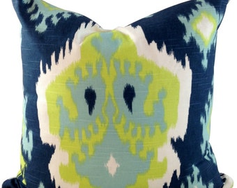 Green and Blue Ikat Throw Pillow Cover in 18x18 for Couch or Chair