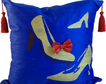 Blue and Gold Pillow Cover in SILK, Pillow with Shoes, Blue Throw Pillow, 18 x 18, 20 x 20