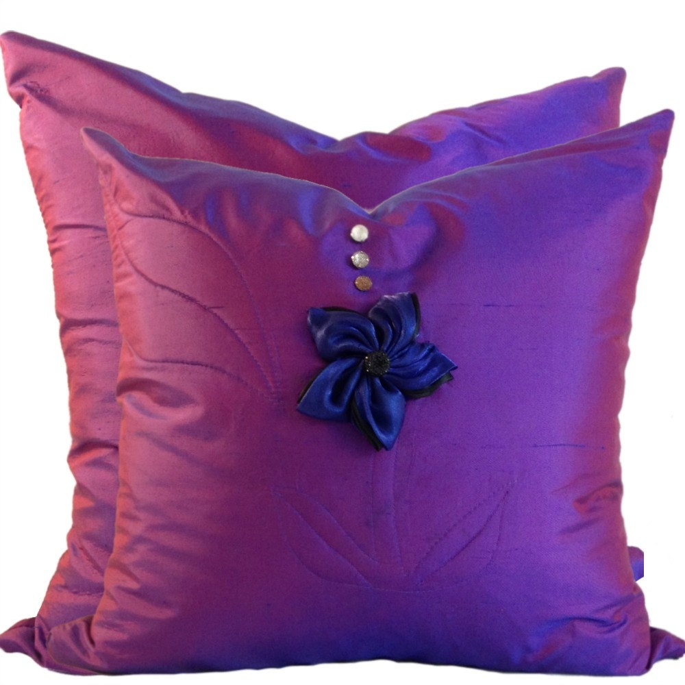 Purple SILK Pillow Cover Set With Flower 16x16 18 X 18 20 X