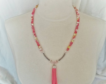 Pink Tassel necklace with peach & yellow glass beads crystal AB chrome tubes heart toggle birthday gift unique womens jewelry fall fashion