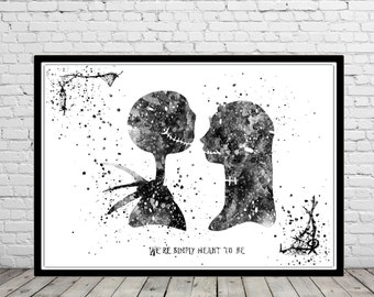 The Nightmare Before Christmas inspired, Jack and Sally, Quote, Watercolor Nightmare, Nursery art, Kids Room Decor, Poster, print (1329b)