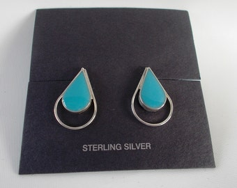 Turquoise and Sterling Silver .925 Teardrop Earrings