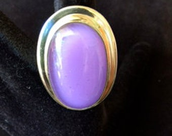 Large lavender fused glass and sterling silver ring