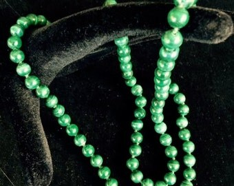 """8 mm. malachite bead necklace, 32"""" long, knotted"""
