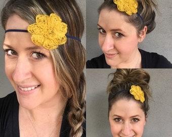 Mustard Yellow headband, flower headband, yellow flower headband, Navy Blue headband,