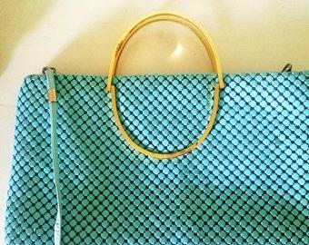 vintage clutch, vintage handbag, vintage purse, 1980's handbag, 1980's purse, vintage turquoise, vintage turquoise handbag A14