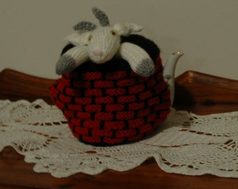 Charming Billy Goat stuck in a Well Teapot Cosy. 8+Cup Teapot Cosy.