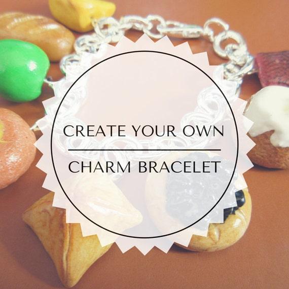 Design Your Own Custom Bangle Charm Bracelet Pick Your Charms: Custom Food Charm Bracelet Create Your Own