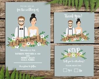 Wedding Invitation, Custom Illustration, Couple Portrait Drawing