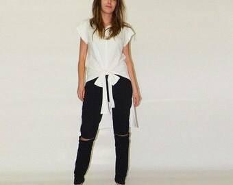 White loose top / Bow top / Yoga shirt / Short sleeve top