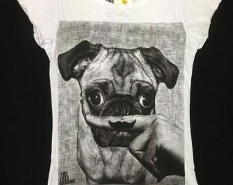 pug life moustache lady t-shirt lady top