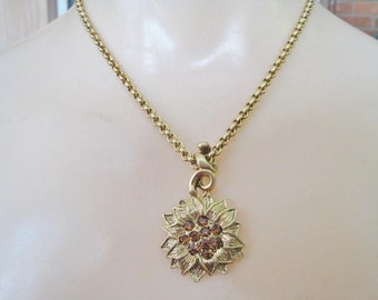1928 Gold Tone Necklace w/ Drop