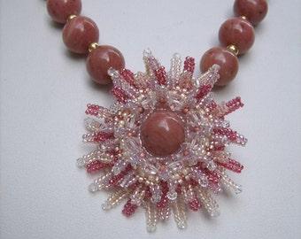 Pink beaded pendant, beaded medallion,  beaded necklace, beaded jewelry, bead art, luxury jewelry, exclusive design, Rhodonite