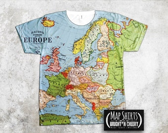 1923 Vintage Europe Map TShirt, All Over Print Shirt, cartography fashion, Germany Shirt, France Tee, euro trip tee, European Union shirt,
