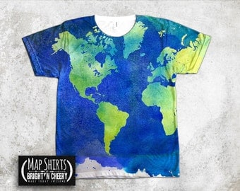 Watercolor World Map T Shirt, All Over Print Shirt, art tshirt, painting shirt, unique tshirt, rave tee, vibrant color, American Apparel tee