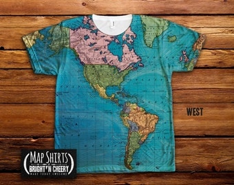 Vintage World Map T Shirt, All Over Print Shirt, ocean currents map tee, geography shirt, colorful world map, ocean cartography tee