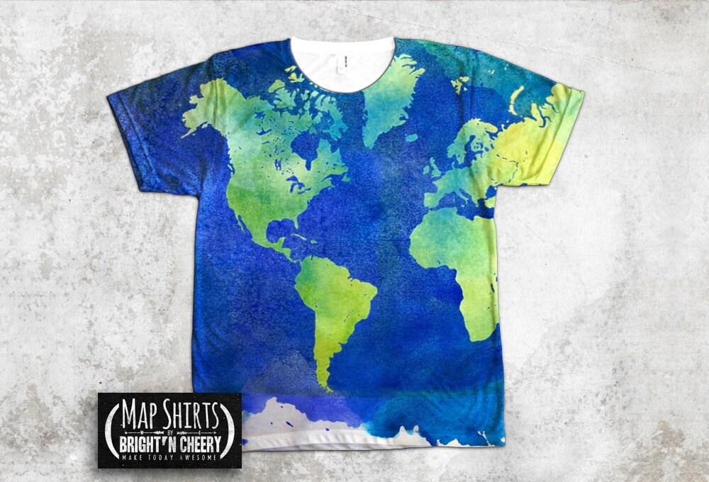 Watercolor World Map T Shirt All Over Print Shirt art