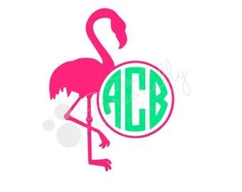 Flamingo monogram vinyl decal sticker Car decal Preppy Southern tropical decal